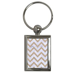 CHEVRON9 WHITE MARBLE & SAND (R) Key Chains (Rectangle)