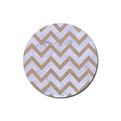 CHEVRON9 WHITE MARBLE & SAND (R) Rubber Round Coaster (4 pack)