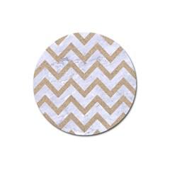 Chevron9 White Marble & Sand (r) Magnet 3  (round)