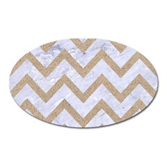 Chevron9 White Marble & Sand (r) Oval Magnet by trendistuff