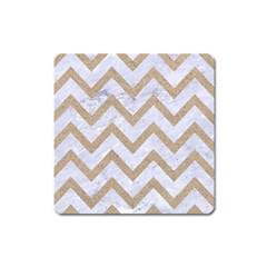 Chevron9 White Marble & Sand (r) Square Magnet