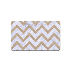 CHEVRON9 WHITE MARBLE & SAND (R) Magnet (Name Card)