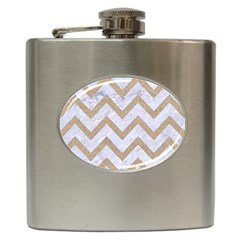 Chevron9 White Marble & Sand (r) Hip Flask (6 Oz)