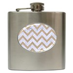 CHEVRON9 WHITE MARBLE & SAND (R) Hip Flask (6 oz) Front