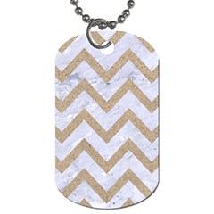 CHEVRON9 WHITE MARBLE & SAND (R) Dog Tag (Two Sides)