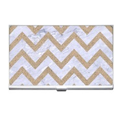 CHEVRON9 WHITE MARBLE & SAND (R) Business Card Holders