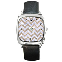 CHEVRON9 WHITE MARBLE & SAND (R) Square Metal Watch
