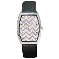 Chevron9 White Marble & Sand (r) Barrel Style Metal Watch