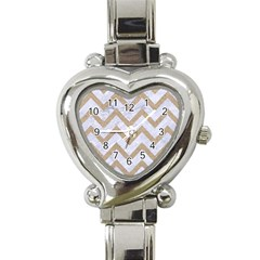 CHEVRON9 WHITE MARBLE & SAND (R) Heart Italian Charm Watch