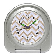 CHEVRON9 WHITE MARBLE & SAND (R) Travel Alarm Clocks