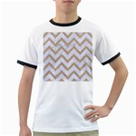 CHEVRON9 WHITE MARBLE & SAND (R) Ringer T-Shirts Front