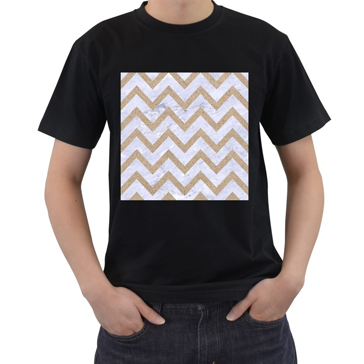 CHEVRON9 WHITE MARBLE & SAND (R) Men s T-Shirt (Black) (Two Sided)