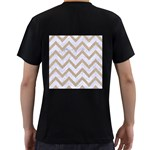 CHEVRON9 WHITE MARBLE & SAND (R) Men s T-Shirt (Black) (Two Sided) Back
