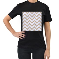 CHEVRON9 WHITE MARBLE & SAND (R) Women s T-Shirt (Black) (Two Sided)