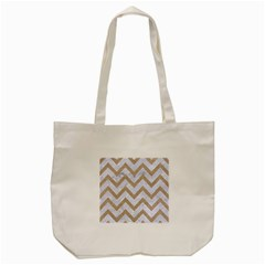 CHEVRON9 WHITE MARBLE & SAND (R) Tote Bag (Cream)