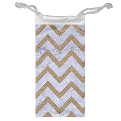 Chevron9 White Marble & Sand (r) Jewelry Bag