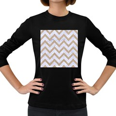 CHEVRON9 WHITE MARBLE & SAND (R) Women s Long Sleeve Dark T-Shirts