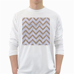 CHEVRON9 WHITE MARBLE & SAND (R) White Long Sleeve T-Shirts
