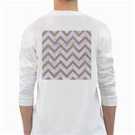 CHEVRON9 WHITE MARBLE & SAND (R) White Long Sleeve T-Shirts Back
