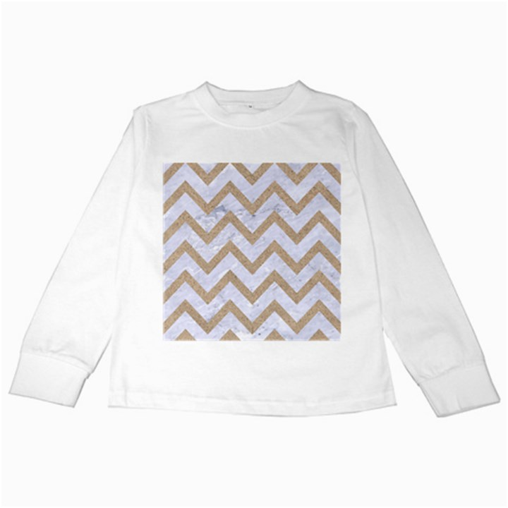 CHEVRON9 WHITE MARBLE & SAND (R) Kids Long Sleeve T-Shirts