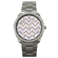 CHEVRON9 WHITE MARBLE & SAND (R) Sport Metal Watch