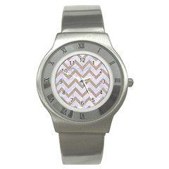 CHEVRON9 WHITE MARBLE & SAND (R) Stainless Steel Watch