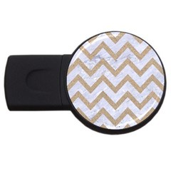 CHEVRON9 WHITE MARBLE & SAND (R) USB Flash Drive Round (4 GB)