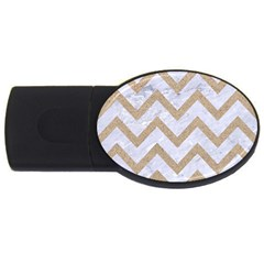 CHEVRON9 WHITE MARBLE & SAND (R) USB Flash Drive Oval (4 GB)