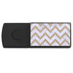 CHEVRON9 WHITE MARBLE & SAND (R) Rectangular USB Flash Drive