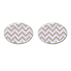 CHEVRON9 WHITE MARBLE & SAND (R) Cufflinks (Oval)