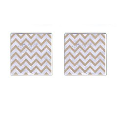 CHEVRON9 WHITE MARBLE & SAND (R) Cufflinks (Square)
