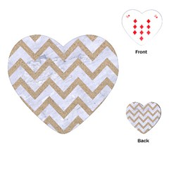 Chevron9 White Marble & Sand (r) Playing Cards (heart)
