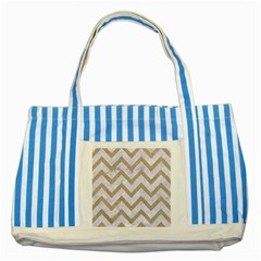CHEVRON9 WHITE MARBLE & SAND (R) Striped Blue Tote Bag