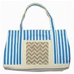 CHEVRON9 WHITE MARBLE & SAND (R) Striped Blue Tote Bag Front