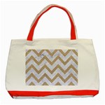 CHEVRON9 WHITE MARBLE & SAND (R) Classic Tote Bag (Red) Front