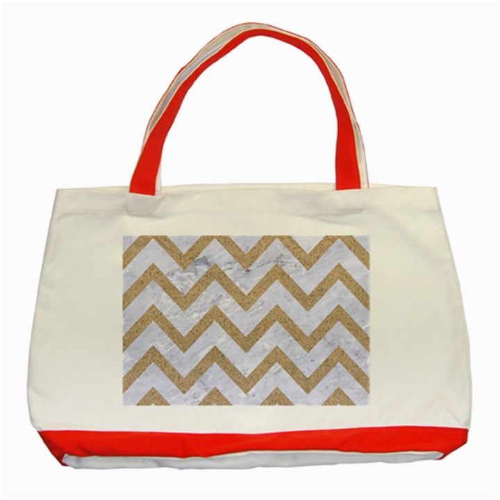 CHEVRON9 WHITE MARBLE & SAND (R) Classic Tote Bag (Red)