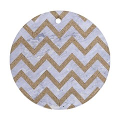 CHEVRON9 WHITE MARBLE & SAND (R) Round Ornament (Two Sides)