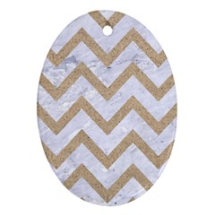 Chevron9 White Marble & Sand (r) Oval Ornament (two Sides)