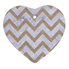 CHEVRON9 WHITE MARBLE & SAND (R) Heart Ornament (Two Sides)