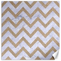 CHEVRON9 WHITE MARBLE & SAND (R) Canvas 16  x 16