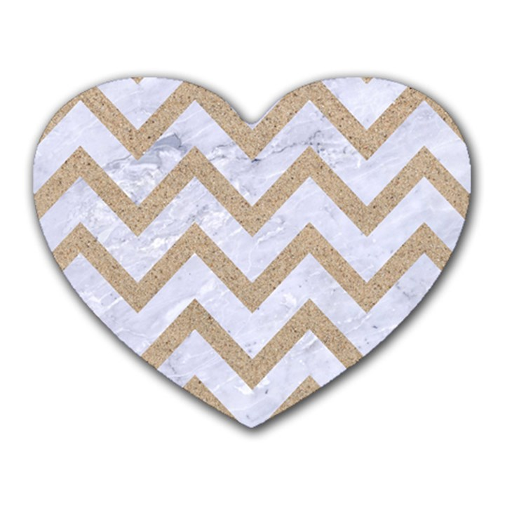 CHEVRON9 WHITE MARBLE & SAND (R) Heart Mousepads