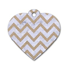 CHEVRON9 WHITE MARBLE & SAND (R) Dog Tag Heart (Two Sides)