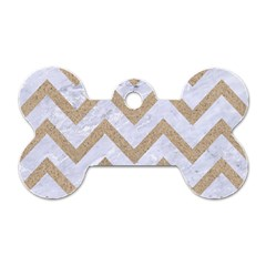 CHEVRON9 WHITE MARBLE & SAND (R) Dog Tag Bone (One Side)