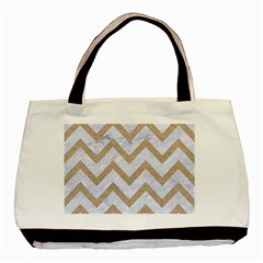 CHEVRON9 WHITE MARBLE & SAND (R) Basic Tote Bag (Two Sides)