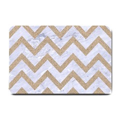 CHEVRON9 WHITE MARBLE & SAND (R) Small Doormat