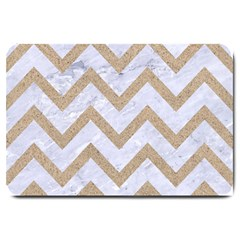 CHEVRON9 WHITE MARBLE & SAND (R) Large Doormat