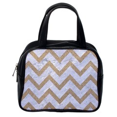 CHEVRON9 WHITE MARBLE & SAND (R) Classic Handbags (One Side)