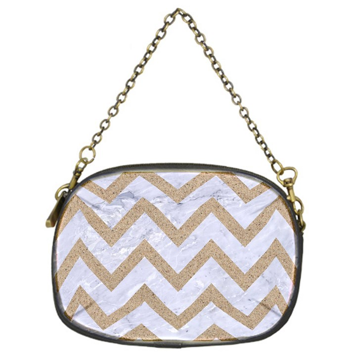 CHEVRON9 WHITE MARBLE & SAND (R) Chain Purses (One Side)