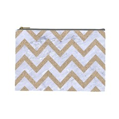 Chevron9 White Marble & Sand (r) Cosmetic Bag (large)