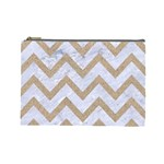 CHEVRON9 WHITE MARBLE & SAND (R) Cosmetic Bag (Large)  Front